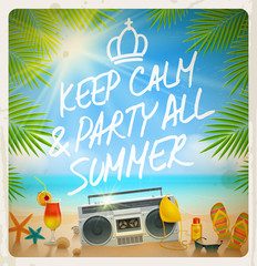 Tropical beach summer party - Vector vintage design