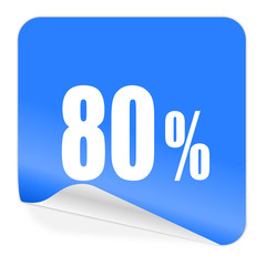 80 percent blue sticker icon