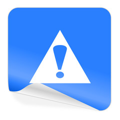 exclamation sign blue sticker icon