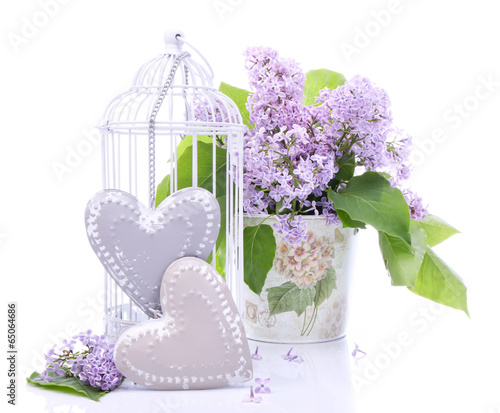 Beautiful decoration with bouquet of flowers and hearts © bluebat