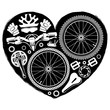 black and white bike parts in form of heart shape
