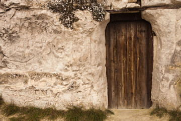 Old Wizard cave house entrance door