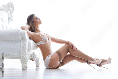 canvas print picture Beautiful alluring young woman in sexy lingerie