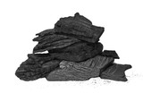 pile charcoal isolated on white background, xylanthrax
