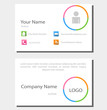 flat business card whit icons