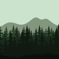 Seamless mountain landscape, forest silhouettes