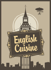 banner for English cuisine restaurant with Big Ben