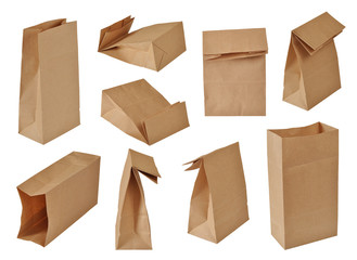 collection of brown paper bags. Isolated on white