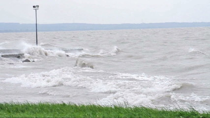 Very strong wind at Lake Balaton, Hungary