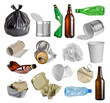 Leinwanddruck Bild - Samples of trash for recycling isolated on white background
