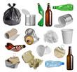 Leinwandbild Motiv Samples of trash for recycling isolated on white background