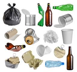 Samples of trash for recycling isolated on white background