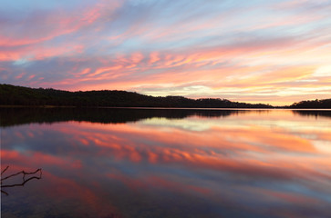 Pretty sunrise Narrabeen Lakes NSW Australia