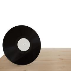 vinyl  on wooden table