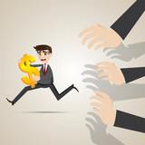 cartoon businessman run away from creditor poster