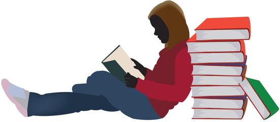 bambina mentre legge