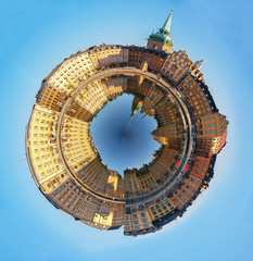Stockholm Old Town, spherical panorama.