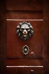 antique door knocker in the form of a lion's head on old door, R