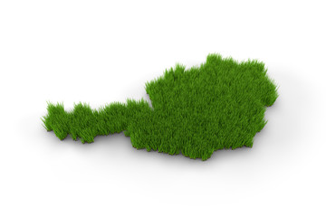 Austria map made of grass. High quality 3D illustration.