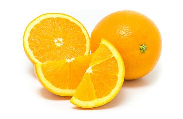 Orange fruit and his segment  isolated on white background