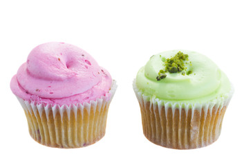 two cupcakes pink and green