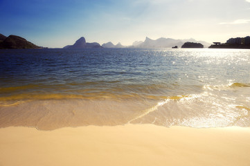Rio Beach with Sugarloaf Mountain Guanabara Bay at Niteroi