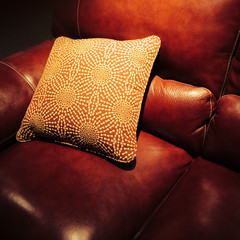 Red leather sofa with cushion