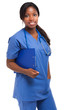 Black nurse isolated on white