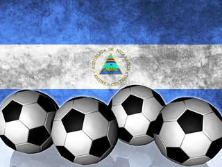 Footballs on top of flag - Nicaragua