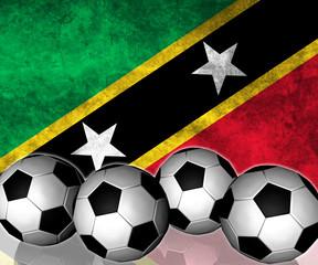 Footballs on top of flag - Saint Kitts and Nevis