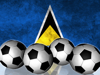 Footballs on top of flag - Saint Lucia