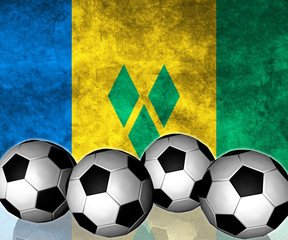 Footballs on top of flag - Saint Vincent and the Grenadines