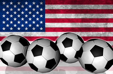 Footballs on top of flag - United States