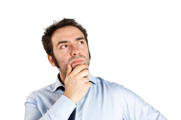 Thinking man on white background