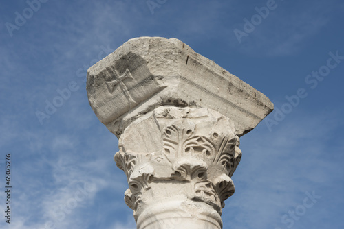 Closeup of column capital of early Christian basilica, Chersones