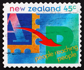 Postage stamp New Zealand 1994 People Reaching People