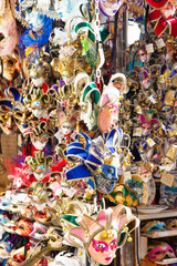 Venetian masks in shop display in Venice