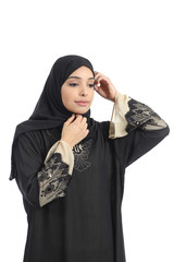 Arab saudi emirates woman dressing putting a scarf