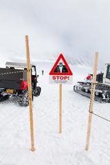 Wheel loader machine unloading snow , Jungfrau,interlaken, Switz