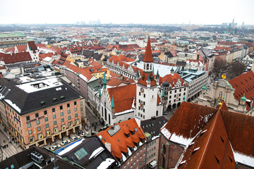 Aerial of Munich city, Germany