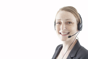 Support phone operator in headset in white