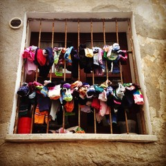 colorful socks on a window