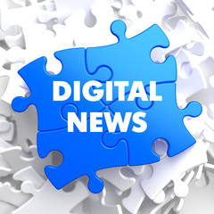 Digital News Concept on Blue Puzzle.