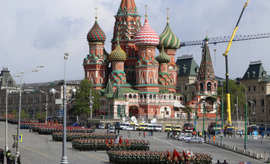 Rehearsal of military parade on Red Square Moscow