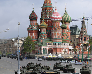 Russian weapons. Rehearsal of military parade,Moscow