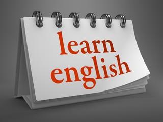 Learn English -Red Words on Desktop Calendar.