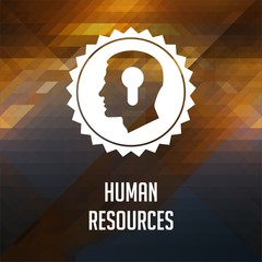 Human Resources on Triangle Background.