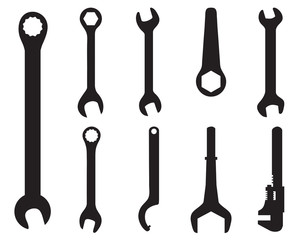 Black silhouettes of screw wrench, vector