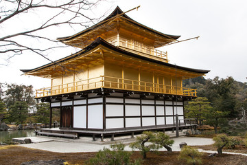 famous golden pavilion at Kinkakuji temple , Kyoto, Japan