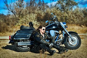 Stylized photo of man and bike